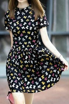 Hand Print Round Neck Short Sleeve Dress