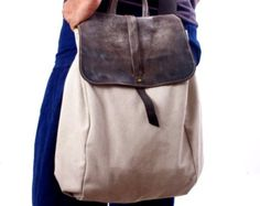 stone canvas and Leather Tote Extra Large Handbag от RuthKraus