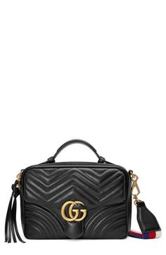 GUCCI SMALL GG MARMONT 2.0 MATELASSE LEATHER CAMERA BAG WITH WEBBED STRAP -  BLACK.   84a1bd3de8b87