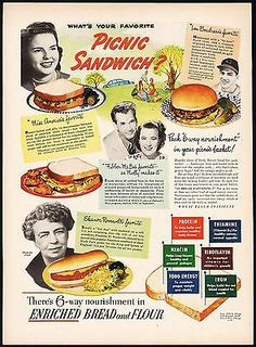 Vintage magazine ad ENRICHED BREAD from 1949 Eleanor Roosevelt and Lou Boudreaus