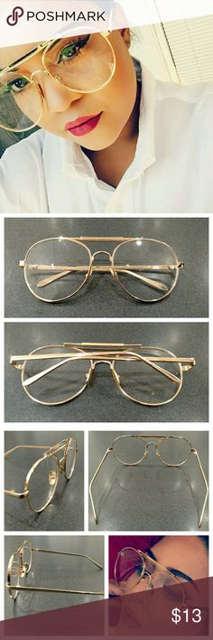 """❗BACK IN❗ Aviator Fashion Glasses Retro aviator fashion glasses! These glasses feature a gold metal frame with clear (and non-prescription!) lenses. Larger in size, the lenses are very nearly circular and give that on-trend oversized look. They measure at about 2.75"""" x 2.75"""". Nosepads are adjustable for comfort. Glasses come with pouch case. Great way to pull a look together and give it some character. Awesome glasses! Accessories Glasses"""