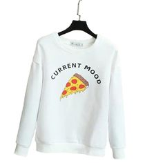 Women white letters pizza print sweatshirt cute cake pattern O-neck long sleeve pullover fashion casual loose tops