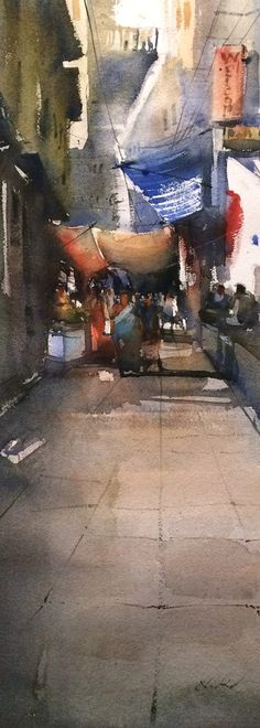 water color painting - narrow street of varanasi, these small and extremely narrow path which leads to ghats and temple inspired me to make several water painting. Watercolor City, Watercolour Paintings, Painting & Drawing, Original Paintings, City Illustration, Nature Study, Original Art For Sale, Urban Sketching, Varanasi