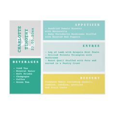 Colour Block Teal Grey Yellow Wedding Menu Personalized Flyer