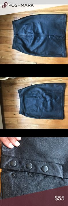BB DAKOTA 100% Leather Black Pencil Skirt 100 % Leather Pencil Skirt.  Beautiful Skirt that no longer fits me. Runs very small. Size on Skirt is 7/8 but fits more like a 3/4 BB Dakota Skirts Pencil