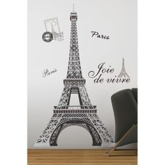 Oh la la! Enjoy the enchantment of Paris and the Eiffel Tower... without ever leaving your room! This set of giant wall decals will bring the famous tower right into your home. A perfect pick for teen or tween bedrooms!  The Eiffel Tower Peel and Stick Applique bring your travels into the home.