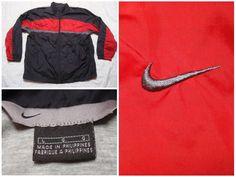 30e81e240ba839 Vintage Men s Nike Jacket Black Red Grey Full Zip Back Logo Swoosh Lined  Windbreaker Streetwear Large