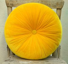 Sweet yellow velvet round pillow 16 by originalboutique on Etsy, $34.00