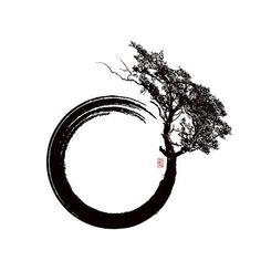 "Tree- Enso Tree – Enso Tree- - Tree- Enso Tree – Enso Tree- - Green And Black Paint Brush Stroke Guys Amazing Tree Of Life Forearm Tattoos ""Yin Yang Bonsai Tree Japanese Buddhist Zen"" Unisex T-Shirt by Plistshirts Tattoo Life, Tattoo Karma, Truth Tattoo, Tattoo Drawings, Body Art Tattoos, Sleeve Tattoos, Fox Tattoos, Circle Tattoos, Triangle Tattoos"