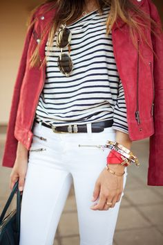 red rocker jacket over stripes & white jeans