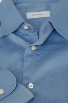 Ermenegildo Zegna $395 French Blue Cotton Dress Shirt 16.5 x 35 #ErmenegildoZegna
