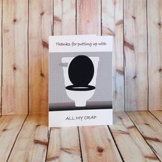 Toilet, Put Up With, Crap, Handmade, Card on Etsy, $4.50
