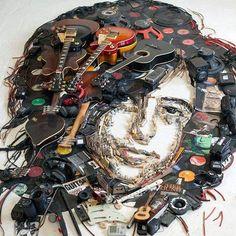 An Impressive Portrait In Tribute To Jimmy Page The Band, John Paul Jones, John Bonham, Jimmy Page, Robert Plant, Hard Rock, Led Zeppelin Art, 3d Portrait, Portraits