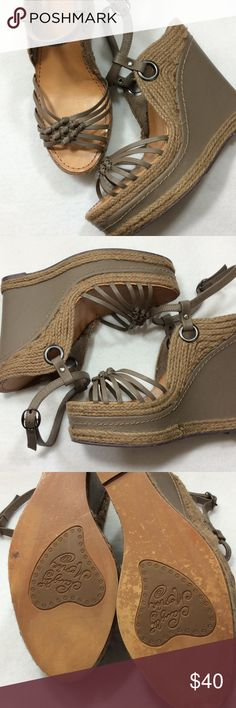 "Naughty Monkey Wedge Sandal Super cute taupe wedge sandals with knotted detailing at toe, braided burlap at platform heel, and secure buckle hugs ankle. 5.5"" wedge heel with 1.75"" platform toe, reasonable 3.75"" rise. Excellent condition - great sandal!! naughty monkey Shoes Sandals"