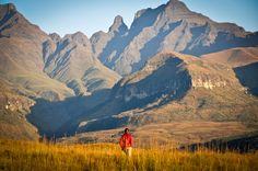 Ukhahlamba Drakensberg -- Massive and spectacular mountain range. Peaks exceed 3000 meters above sea level. Climbing, hiking, wilderness trails, mountain biking, fly fishing, and more. #Nature #Travel