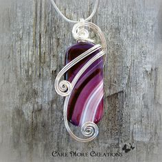 Purple Stripes Agate Wire Wrapped Pendant in Silver by CareMoreCreations.com, $44.00