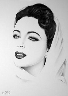 Elizabeth taylor minimalism pencil drawing fine art portrait signed print ( resemblance to benazir bhutto, yes? Realistic Pencil Drawings, Amazing Drawings, Pencil Portrait, Portrait Art, Art Visage, Desenho Tattoo, Celebrity Portraits, Pen Art, Elizabeth Taylor