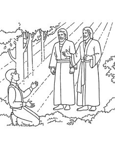 An illustration of Joseph Smith seeing Heavenly Father and Jesus Christ, from the Nursery manual Behold Your Little Ones. Story of the First Vision.