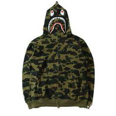 A Bathing Ape Bape Green Camo Jacket Shark Hoodie Bape Camo Jacket, Bape Outfits, Bape Shark, Camo Men, A Bathing Ape, Men's Coats And Jackets, 1, Hoodies, Funny