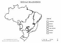 Mapa dos biomas brasileiros com legenda para completar.