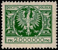 1924-Eagle on a large baroque shield.