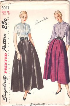 1940s Simplicity 3041 Misses Simple to Make Kimono Sleeve Tucked Blouse and Flared Skirt in two lengths day evening womens vintage sewing pattern by mbchills