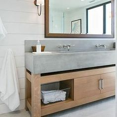 Concrete trough sink, ship lap | Kelly Nutt Design
