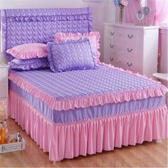 Pink and Indigo Quilt with Frill