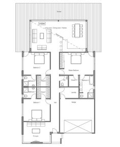 Contemporary home plan to narrow lot. Three bedrooms with separate baths. Abundance of natural light in the living room.