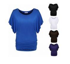 19.00€ Taille 36 à 54. Top fashion plissé & manches courtes chauve-souris - bestyle29.com
