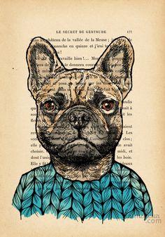 FRENCH BULLDOG - IMPRESSION SUR PAPIER VINTAGE - Arts numériques ©2015 par evafialka - Art figuratif, Illustration, Impressionnisme, Portraiture, Papier, Animaux, Chiens, Humour, Portraits, french bulldog, dog portrait, animal, funny, deco for kids, chien, zentangle art, ink
