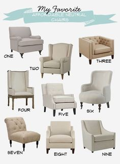 My Favorite Affordable Neutral Chairs #ChairLivingRoom