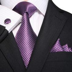 "3PC Silk Necktie Set Color: Purple 59"" Length, 3.25"" Width"