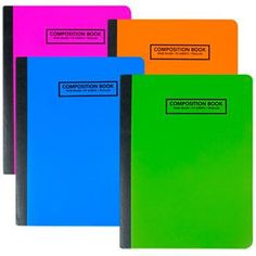 Jot Neon Poly Cover Wide-Ruled Composition Notebooks (Set of 4)
