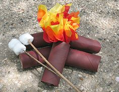 Made out of TP rolls, tissue paper, and cotton balls. Campfire and marshmallows! Great DIY for a kid's camping party. Camping Parties, Camping Theme, Camping Crafts, Camping Ideas, Rv Camping, Glamping, Camp Scout, Dramatic Play Centers, Craft Projects For Kids