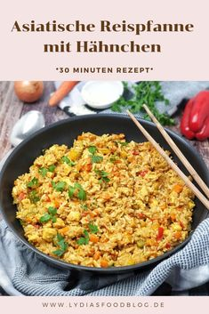 Asia rice pan with chicken and vegetables-Asia Reis Pfanne mit Huhn und Gemüse Such an Asian rice pan is quick to make. Delicious and light - Healthy Eating Tips, Healthy Chicken Recipes, Asian Recipes, Healthy Snacks, Ethnic Recipes, Eat Healthy, Healthy Life, Crock Pot Recipes, Rice Recipes