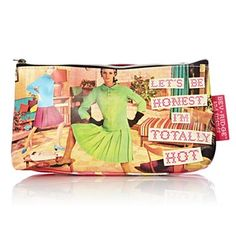 'Totally Hot' cosmetic bag from Bev Ridge  Friends has a vintage-style 60s print on one side and a floral print on the other, with a printed slogan on the former that reads: 'Let's be honest, I'm totally hot.'