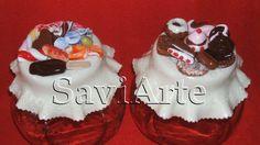 Frascos decorados com biscuit