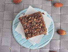 Almond Butter Protein Bars.  Vegan, no added sugars and gluten free.