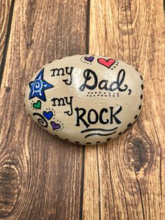 My Dad My Rock Father's Day Painted Stone Father's day Gift Painted Rock for Dad You are my Rock Hand Painted Rock by AlleluiaRocks on Etsy Diy Father's Day Gifts Easy, Diy Father's Day Crafts, Diy Gifts For Dad, Father's Day Diy, Rock Crafts, Dad Crafts, Homemade Fathers Day Gifts, Fathers Day Art, Fathers Day Crafts