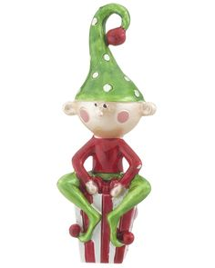 Elf Siting on Present Christmas-Ornaments.com