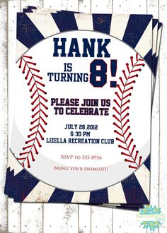 DIY Baseball Party Invitations by InitialMePink on Etsy Baseball
