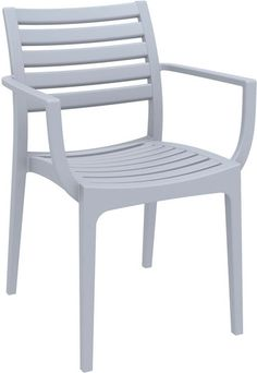 Artemis Outdoor Dining Arm Chair Silver Gray (Set of 4)