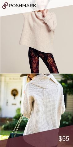 TONIGHT ONLY!! Free People Sidewinder Cowlneck NWOT Bone colored free people cowl neck with split back and dropped shoulders. Looks super cute oversized either with leggings or jeans! Free People Sweaters Cowl & Turtlenecks