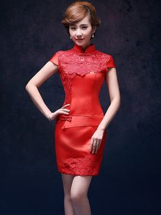 Red Short Lace Qipao / Cheongsam Wedding Dress