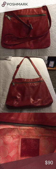 Bright Red Lorna style Hobo cross-body bag Trendy red leather cross-body bag.  Very well made. This bag was used for one summer, there is some wear on the corners. It's a great bag, but it doesn't get as much use as it should! HOBO Bags Crossbody Bags