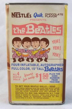 BEATLES 1966 Original Vintage Chocolate Nestle's Quik Can with Inflatables Offer
