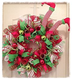 ELF Chritmas Deco Mesh Wreath/Christmas Elf Wreath/Red, White and Lime Elf Wreath/Christmas Wreath/Elf Wreath/Santas Helper Wreath by CKDazzlingDesign on Etsy