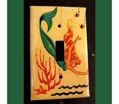 retro mermaid switch plate 1950's pin up rockabilly vintage nautical light switch
