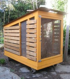 I like this chicken coop because it is on wheels. I have always wanted to own chickens...